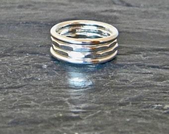 Thick Stacking Rings - Layering Ring - Large Silver Rings - Big Silver Rings - Boho Ring Set - Thick Ring - Stacking Ring Set - Size 5 - 15