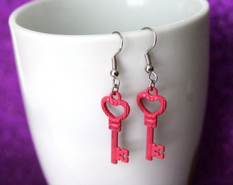 Pink Key Earrings - Skeleton Key - Vintage Style Key