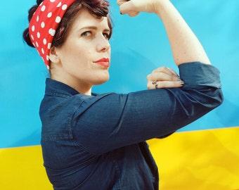 Rosie the Riveter Red & White Polka Dot Bandana - Choose Size - Jumbo Bandanna