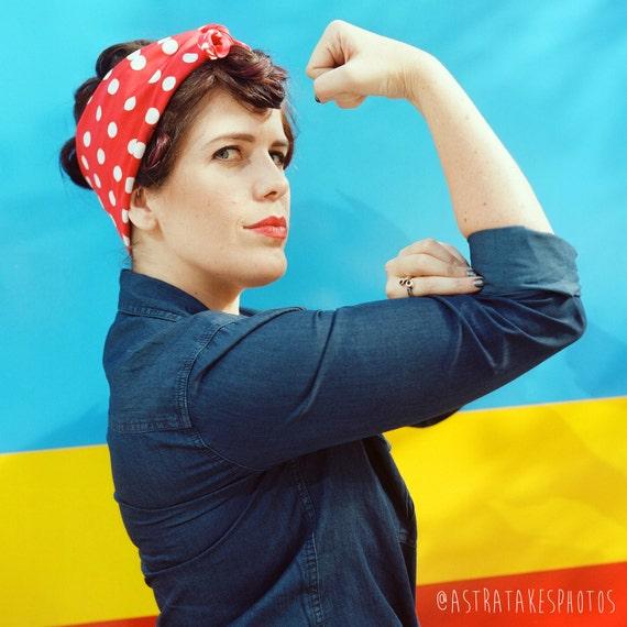 Rosie Rally Bandanna Retro Pinup Girl Rosie The Riveter