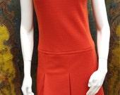 Vintage 60s orange mod pleated v neck dress