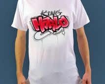 Custom Airbrushed T shirt with name | Graffiti Style