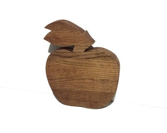 Vintage Apple Shaped Wooden Cheese Tray Cutting Board Serving Tray