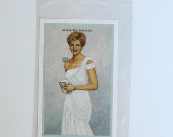 "Vintage Princess Diana ""White Chiffon Evening Dress"" Postage Stamp"