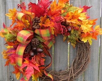 Fall Wreath, Wreath in Bright Fall Colors, Woolly Bow Wreath, Fall Check Ribbon, Autumn Decor, Fall Decoration, Fall Acorns and Berries
