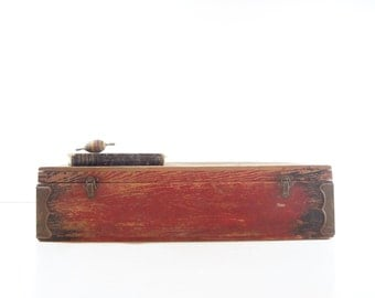 Vintage Wood Tool Chest / Wooden Tool Box / Rustic Storage