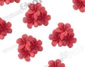 21mm - Red Plumeria Bouquet Cabochons, Plumeria Cluster Cabochons, Plumeria Cabochons, Flat Back Plumerias, Flower Cabs  (R9-075)