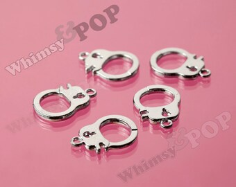 Shiny Platinum Silver Handcuff Charm Pendants, Handcuff Charms, 23mm x 15mm (R8-250)
