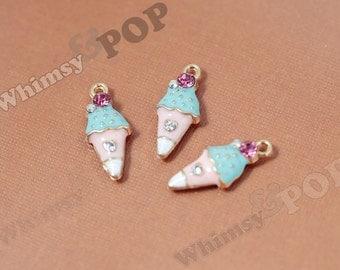 Pink Blue White Ice Cream Cone Enamel Crystal Kawaii Foodie Charm, Ice Cream Cone Charm, 10mm x 23mm (1-4D)