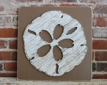 Sand Dollar, Wooden Wall Art, Distressed Antique White Bead Board, Coastal