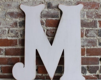 """24"""" Wooden Letter M, White, Alternative Wedding Guestbook, Elegant Font, Distressed, Modern Rustic - all letters available in many colors"""