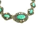 RESERVED FOR T// Art Nouveau Necklace. Bohemian Dragons Egg Green Glass & Enamel. Antique 1900s Belle Epoque Jewelry. Art Glass Necklace.