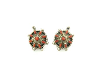 Zuni Coral Earrings. Sterling Silver Studs. Petit Point Turtle Posts. Mother Earth. Signed J-K ZUNI. Vintage 1970's Native American Jewelry