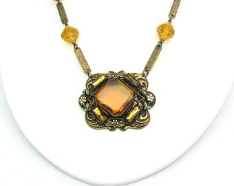 Art Deco Czech Necklace. Amber Topaz & Mirror Glass, Enamel Flowers. Engraved Links Choker. Antique Necklace. Vintage 1920s Art Deco Jewelry