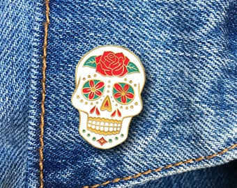 Sugar Skull Enamel Pin, Hard Enamel Pin, Day of the Dead, Jewelry, Art, Gift (PIN50)