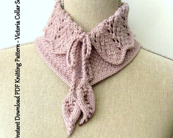 Scarf Knitting Pattern Instant Download PDF - Victoria Collar Scarf