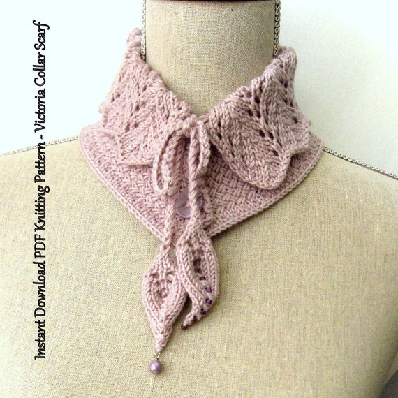 Knitting Patterns For Collar Scarf : Scarf Knitting Pattern Instant Download PDF - Victoria Collar Scarf from Ohma...