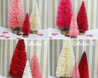The Sweetheart Collection: Dip Dyed Sisal Bottlebrush Trees by Distinguished Flamingo