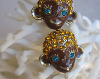 Brown Monkey Stud Earrings with Orange Crystal Hair n Turquoise Eyes