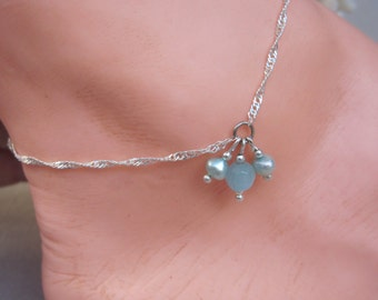 Petite Twisted Herringbone Chain with Aqua Freshwater Pearls n Opaque Agate Charm Anklet