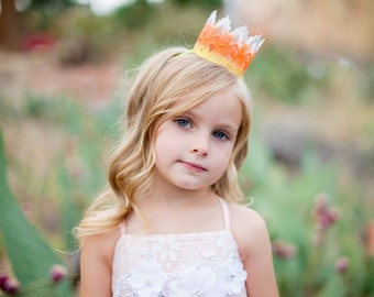 S P E C I A L OFFER || Candy Corn || Fall Autumn Halloween || ombre lace crown || headband option || all ages|| RTS
