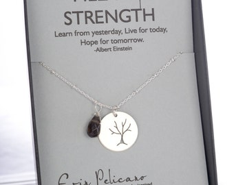 Strength Necklace Gift for Her Strength Jewelry Inspirational Gift Tree of Life Jewelry Strength Gift Her Motivational Jewelry Hope Jewelry