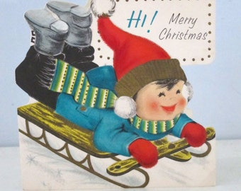 Vintage 1960's Hallmark Christmas Card Boy Sledding