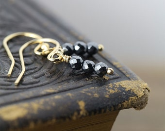 SALE - Tiny Gold Filled Earrings - Dainty Dangle Earrings - Delicate Jewelry - Black Hematite Gemstones - Womens Jewelry Gift for Her