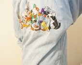 Looney Tunes Chambray Button Down / Vintage Looney Tunes