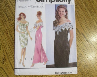 DESIGNER Jessica McClintock Off the Shoulder Sheath Gown w/Fishtail Back - Size (4 - 6 - 8) - UNCUT Vintage Sewing Pattern Simplicity 7817