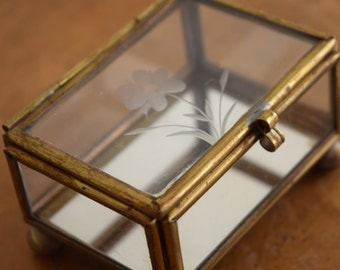 Very Small Vintage Glass Curio Display Box w/Etched Flower Design - perfect to display tiny crystals or baubles