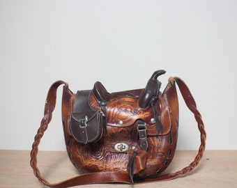 Vintage Novelty Tooled Leather Saddle Bag Lucky Horseshoe Detailing
