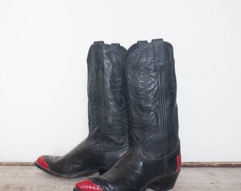 8 M | Dan Post Lizard Wingtip Western Boots Black & Red Cowboy Boots