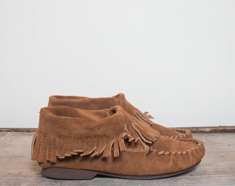 5 | 1960's TAOS Fringe Moccasin ankle Boots