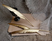 Gold Feather pen, Gold Ball Point Pen With Feather, Wedding feather pen, Gold wedding pen, Feather pen