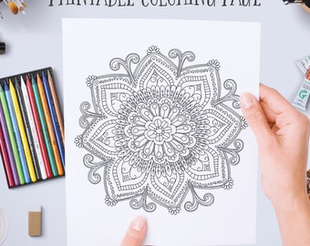 printable instant download adult coloring book pages diy mandala wall art doodle flowers