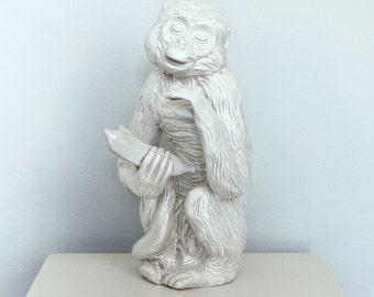 Large Ceramic Monkey Statue - Vintage White Monkey - Handmade Terracotta Capuchin Monkey Sculpture - Large White Monkey Pottery Statue
