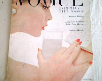 Vintage Vogue Magazine 1950's July 1950 Vogue Magazine Complete and Original
