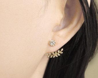 Ear jacket earrings, ear jacket with cz studs, cz back drop earrings, cz ear jacket