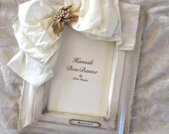 Picture Frame White Wedding Vintage Jewel Bow Personalized Anniversary Engagement Bridal Registry Unique Custom Handcrafted