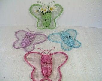 Vintage Wicker Pastel Butterfly Wall Pockets Set of 4 - Pink, Blue, Green & Purple Butterflies Metal Mesh Wings / Woven Rattan Center Basket