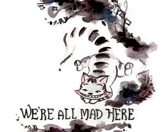Cheshire Cat Print - Original Watercolor Art - Alice in Wonderland - Black Ink Painting - Nursery Art Print - Gift for Booknerds