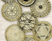 Ancient Science and Alchemy Circles 2.5 inch printable paper crafting instant download digital collage sheet - 1207VEDECIVI