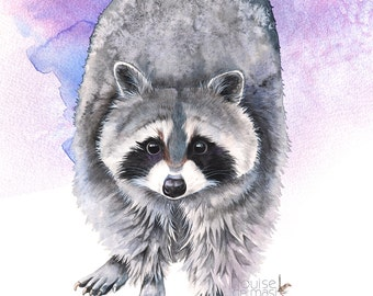 Raccoon print, raccoon watercolor painting, woodland nursery print, woodland animal watercolor painting, A3 size print, R8816