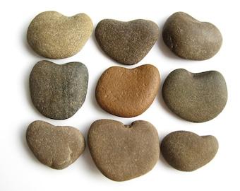 9 Heart Shaped Rocks - Natural River Stones