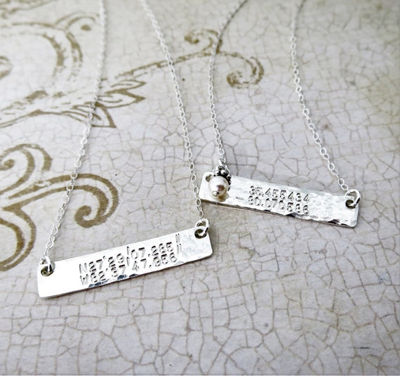 Latitude Longitude Necklace - Sterling Silver Bar Necklace - Horizontal Bar Necklace - Coordinates Necklace - Pearl Accent