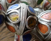 Enamel Moroccan tarnished shiny small bead with drop shapes