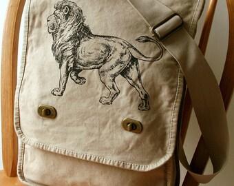 Lion Canvas Messenger Bag Laptop Bag Bag for Men Bag for Women