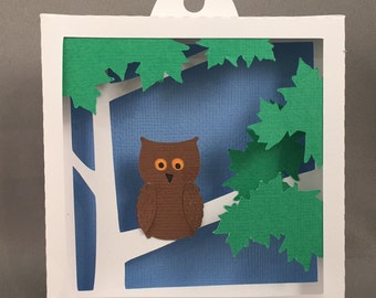 3D Pop Up Owl in Trees Paper Shadow Box, Hand Cut Paper, Pop Up Sculpture, 3D Paper Art, Pop Up Art