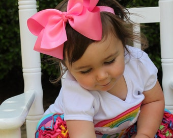 Large satin hairbow -- 6 inch Satin hair bow, choose from 4 colors -- bright pink, orange cream, taupe, aqua